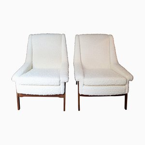 Italian Wood and Fabric Armchairs, 1950s, Set of 2