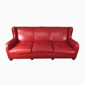 Sofá cama de cuero rojo, años 70