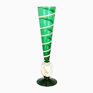 Grünes Kelchglas aus Muranoglas von Carlo Moretti, 2006