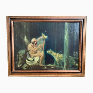 Huile sur Toile Orpheus Among the Wild Animals Art Nouveau par Friedrich Michael Pfeiffer, 1920