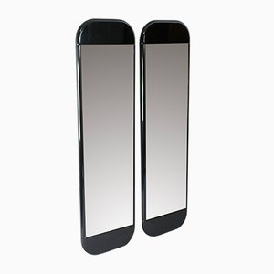 French Smoked Black Lacquered Wood Wall Mirrors, 1970s, Set of 2