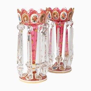 Antike Kerzenständer aus vergoldetem Kristallglas, 2er Set