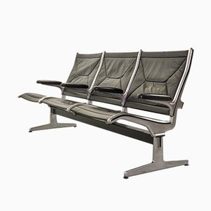 Black Leather 3-Seat Tandem Sling Airport Bench by Charles & Ray Eames for Herman Miller, 1962