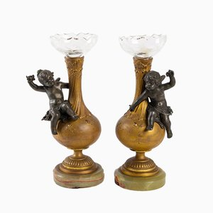 Antique Napoleon III Golden Vases, Set of 2