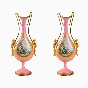 Antique Napoleon III Enameled Porcelain and Gilded Bronze Vases, Set of 2