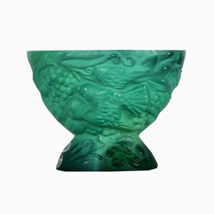 Malachite Glass Bowl by Schlevogt, 1920s