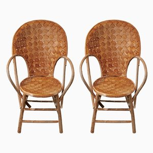 Wicker Provence Armchairs by Le Corbusier for Pascal Raffier, 1970s, Set of 6