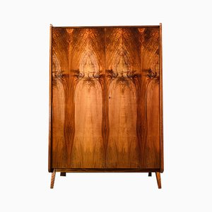 Mid-Century Walnut Veneer Wardrobe by Tatra Nabytok for Pravenec