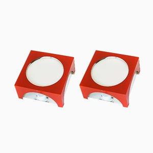 Wandlampen in Rot & Weiß von Hegelund für Lyfa, 1970er, 2er Set