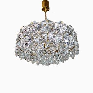 Kronleuchter aus vergoldetem Kristallglas & Messing von Kinkeldey, 1960er