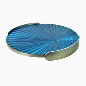 Tray Covered with Blue Straw Marquetry and Brushed Stainless Steel from Ginger Brown