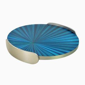 Blaues Tablett aus gebürstetem Edelstahl mit Intarsien von Ginger Brown