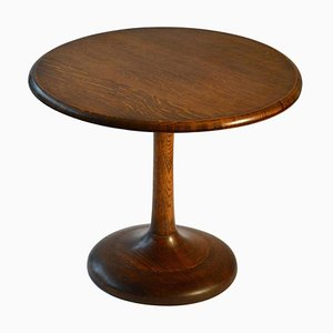 Round Oak Side Table, 1950s