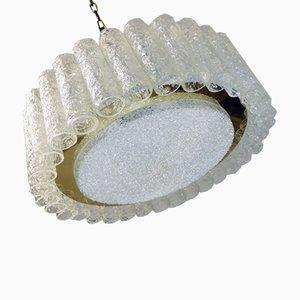 Hängelampe aus Kristallglas & Messing von Doria Leuchten, 1960er