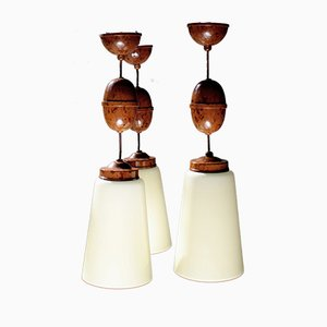Walnut-Colored Bakelite and Alabaster Glass Ceiling Lamps, 1930s, Set of 3
