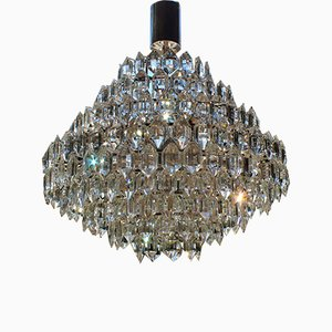 German Silvered Brass and Glass Chandelier from Schroeder & Co., 1970s