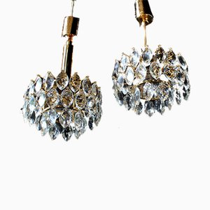 Crystal Glass and Gold Brass Ceiling Lamps from Schroeder & Co., 1970s, Set of 2