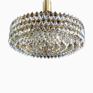 German Silvered Brass and Crystal Glass Ceiling Lamp from Schroeder & Co., 1970s