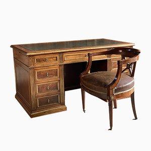 Antiker französischer Napoleon III Schreibtisch mit Stuhl, 1890er