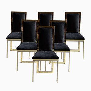 Italian Brass and Chrome Dining Chairs, 1970s, Set of 6