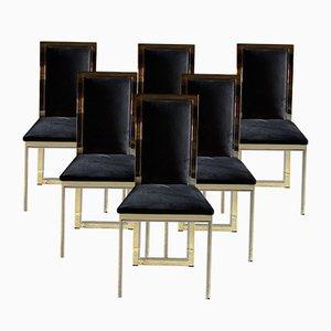 Italienische Esszimmerstühle aus Messing & Chrom, 1970er, 6er Set