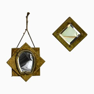 19th Century Velvet Wall Mirrors, Set of 2
