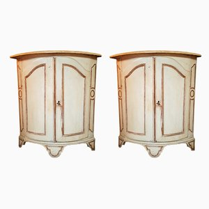 Antique Louis XV Corner Cupboards, Set of 2