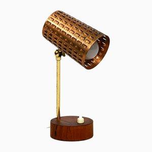 Lámpara de mesa Mid-Century de cobre perforado y madera de teca, años 50
