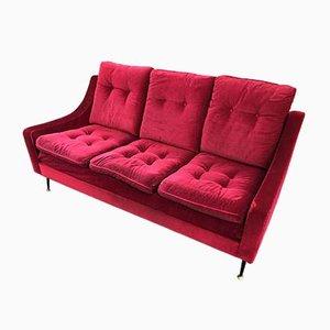 Red Velvet Sofa, 1950s