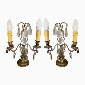 Antike Tischlampen aus Messing mit Anhängern aus Kristallglas, 2er Set