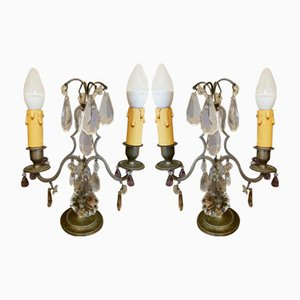 Antique Brass and Crystal Table Lamps, Set of 2