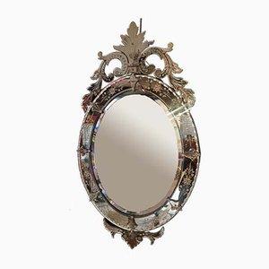 Großer antiker italienischer Spiegel mit Rahmen aus Muranoglas