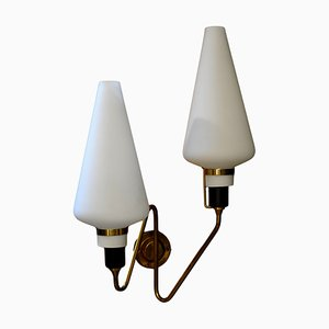 Italian Glass and Brass Sconce, 1950s