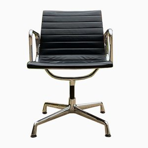 Mid-Century Leather Model EA 108 Swivel Desk Chair by Charles & Ray Eames for Vitra