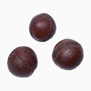 Bolas pequeñas Mid-Century de cuero. Juego de 3