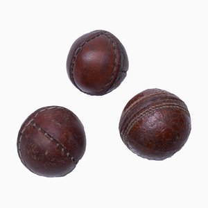Petites Balles Mid-Century en Cuir, Set de 3