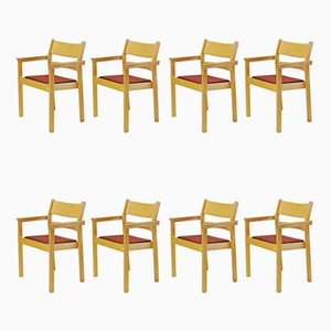 Beech Armchairs by Hans J. Wegner for Fredericia Stolefabrik, 1980s, Set of 8