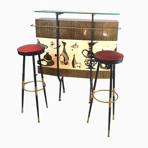 Italian Bar and Stools Set by Giulio Scremin, 1960s