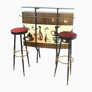 Juego de bar y taburetes italianos de Giulio Scremin, años 60