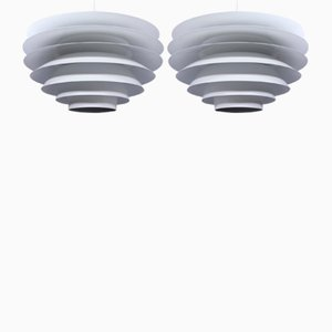 White Pendant Lamps by Svend Middelboe for Nordisk Solar, 1970s, Set of 2