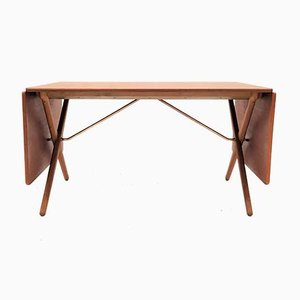 Mesa de comedor modelo AT 309 de teca y roble de Hans J. Wegner para Andreas Tuck, años 60