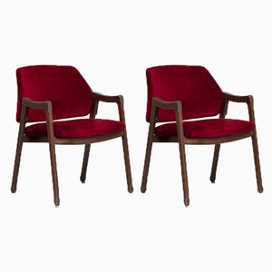 Italian Beech and Velvet Model 814 Lounge Chairs by Ico Luisa Parisi for Cassina, 1960s, Set of 2