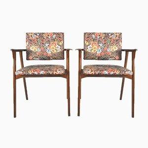 Armlehnstühle aus Holz, 1950er, 2er Set