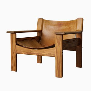 Vintage Scandinavian Pinewood and Leather Armchair, 1970s
