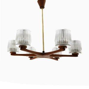 Lámpara de araña de teca y vidrio con seis brazos, años 60