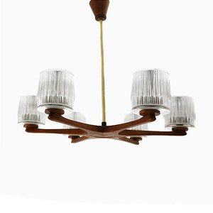 Teak and Glass 6-Arm Chandelier, 1960s