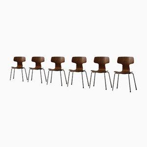 3103 Hammer Esszimmerstühle aus Teak von Arne Jacobsen, 1980er, 6er Set