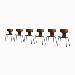 Teak 3103 Hammer Dining Chairs by Arne Jacobsen, 1980s, Set of 6