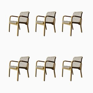 Mid-Century model 45 Armchairs by Alvar Aalto for Artek, Set of 6