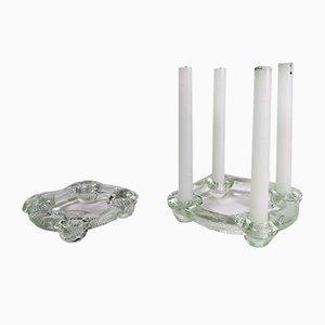 Kerzenständer aus Kristallglas von Staffan Gellerstedt für Pukeberg Glasbruk, 1970er, 2er Set